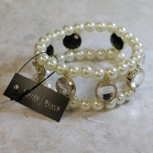 WHBM reversible pearl stretch bracelet, gold